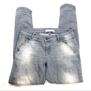 Zara Basics Moto Ankle Jeans 4 gray